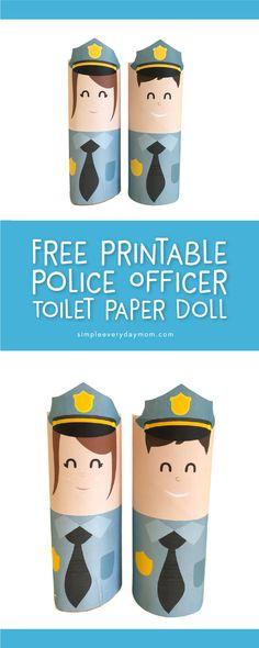 free printable community helpers craft   police officer doll for #preschool, #kindergarten #kidscrafts