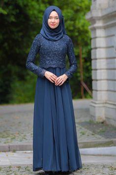 Evening Dress - Lace Detail Navy Blue Hijab Dress 76463L