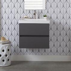 "Gracie Oaks Guang 60"" Single Bathroom Vanity Set | Wayfair Bathroom Vanity Base, Marble Vanity Tops, Bathroom Fixtures, Vanity Set, Bathroom Vanities, Light Gray Cabinets, Wood Sink, Frameless Shower Doors, Mirror Backsplash"