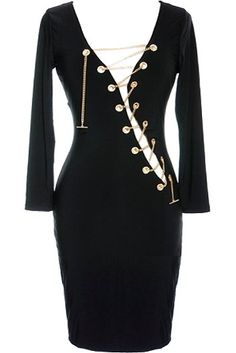 Chain Reaction Dress: Features a sexy plunging neckline secured with gold grommet and chain detailing, snug 3/4-length sleeves, and a curve-caressing body-conscious silhouette to finish.