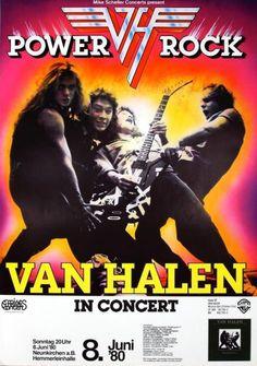Van Halen 1980 Woman and Children first concert poster  special Guest: Lucifer's Friend  June 08, 1980 Neunkirchen (Nurnberg) / Germany  Tickets: 18 DM ( 9,00 Euro )