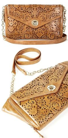 Cognac Laser Cut Lace Clutch ♥