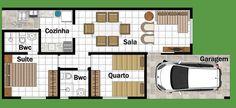 planos de casas pequenas rectangulares tres habitaciones - Buscar con Google