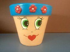 vaso cerâmico rostinhos pintados à mão