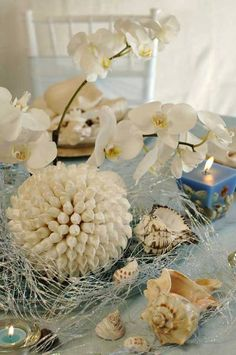 Beach wedding centerpieces are the touch that must be available in your beach wedding. All related with nautical things will be the ideas for a beach wedding centerpiece. Beach Wedding Reception, Beach Wedding Flowers, Beach Wedding Favors, Nautical Wedding, Wedding Ideas, Beach Weddings, Wedding Table, Trendy Wedding, Seaside Wedding