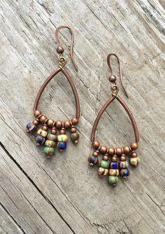 Copper Hoop Earrings / Bohemian Earrings / Boho Copper Jewelry by RusticaJewelry on Etsy https://www.etsy.com/listing/170558087/copper-hoop-earrings-bohemian-earrings