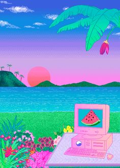 Image uploaded by demrip. Find images and videos about art, kawaii and pixel on We Heart It - the app to get lost in what you love. Vaporwave Wallpaper, Art Vaporwave, Pixel Art, Art Magique, Retro Waves, Glitch Art, Arte Pop, Retro Aesthetic, Oeuvre D'art