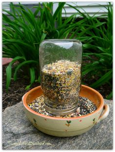An awesome and easy way to make a bird feeder using a mason jar. You could use any old dish. I think I would try gluing the dowels to the dish so the squirrels don't knock it over