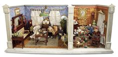 """De Kleine Wereld Museum of Lier: 306 Two Room Furnished """"Christmas and Butterfly"""" Dollhouse by Gottschalk"""