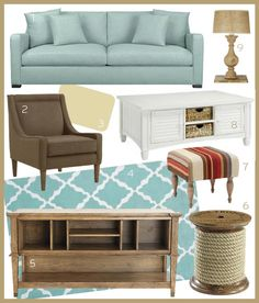 Good Style Design, Living Rooms, 3A Weathered Wood & Turquoise Living Room
