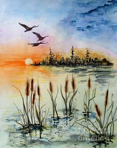 Autumn Painting - Homeward Flight by April McCarthy-Braca Source by Watercolor Landscape Paintings, Watercolor Trees, Watercolor Background, Abstract Watercolor, Watercolor Illustration, Landscape Art, Simple Watercolor, Tattoo Watercolor, Watercolor Animals