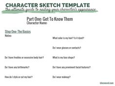 The Ultimate Guide To Nailing Your Character's Appearance (plus a character sketch template) | She's Novel