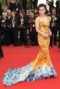 "Fan Bingbing In Dragon Robe by Laurence Hsu. ""Robin Hood"" première at Cannes Film Festival 2012."