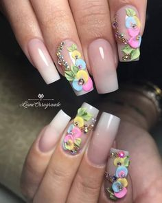 Me encantan 3d Nail Art, Jolie Nail Art, Acrylic Nail Art, Fabulous Nails, Perfect Nails, Gorgeous Nails, Pretty Nails, 3d Nail Designs, Acrylic Nail Designs