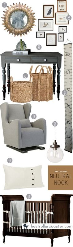 I am helping my best friend design the nursery for her twin boys that she and her husband are expecting this spring!   Great ideas with the neutrals...