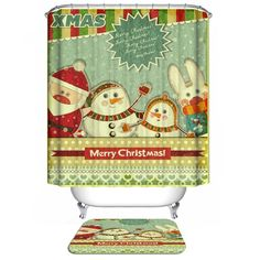 18.28$  Buy now - http://di0pu.justgood.pw/go.php?t=200560201 - Merry Christmas Waterproof Shower Curtain Bath Decoration