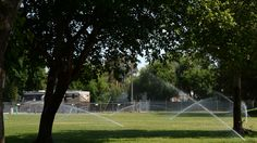 Lawns in the front get watered just before 3 p.m. at the Contra Costa County fairgrounds in Antioch on May 5, 2015.