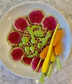 Over the Rainbow Whole Grain Bowl with Pea Mint Sauce #wheatberry #wheat #parfait #healthy #homegrown #Farm #wheatrecipes Healthy Meal Prep, Healthy Dinner Recipes, Whole Food Recipes, Vegan Recipes For Athletes, Beet Smoothie, Watermelon Radish, Tomato Bisque, Mint Sauce