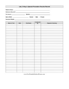 Lab Results Record Printable Medical Form, free to download and print