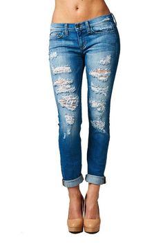 Mya Medium Wash Destructive Boyfriend Jeans