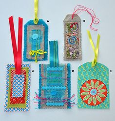 Project: Textile Tags Do you have scraps of lovely ribbon and fabric that you can't bear to throw away? Here's a great way to use them.