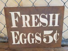 Rustic Fresh Eggs Metal Sign. Fresh Egg Sign. Farmhouse decor sign, kitchen…