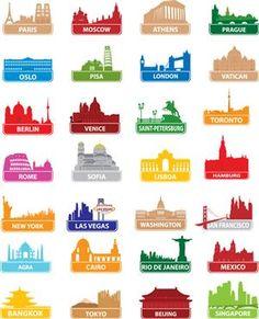 so far, I've got Paris, Pisa, London, Vatican, Rome, New York, Venice, Washington DC, San Fran...