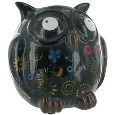 Pomme Pidou Owl Animal Money Bank - Black