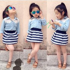 Kids Baby Girls Long Sleeve Denim T-shirt+Skirt Set Summer Dress Outfits Clothes Cute Little Girls Outfits, Kids Outfits Girls, Dresses Kids Girl, Little Girl Fashion, Toddler Fashion, Toddler Outfits, Kids Fashion, Ladies Fashion, Winter Fashion