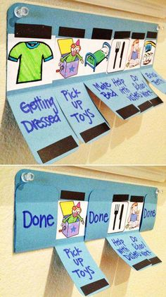 #14. Craft a simple chore chart using a piece of colored paper and some thin magnetic sticky strips.