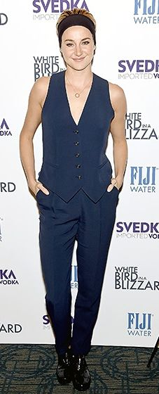 Shailene Woodley channeled her inner Annie Hall in a navy suit with shiny black oxfords and a black headband.