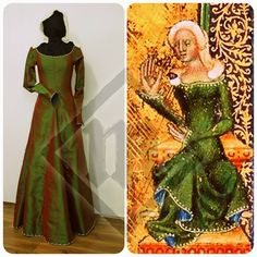Silk green dress based on the picture on the right. With silk embroidery and river pearls decorations (and also a blue lining!)  https://www.facebook.com/LadyMalinaCom/