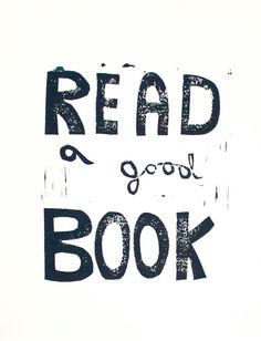 Typography print of Read a Good Book Linocut in by RetroModernArt
