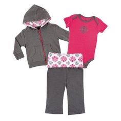 Yoga Sprout Baby-Girls 3 Piece Hoodie Bodysuit and Pant Set Pink Medallion 3-6 Months