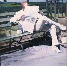 Homem lendo o jornal, 2006 Lisbeth Firmin (EUA, 1949) óleo sobre madeira, 50 x 50 cm