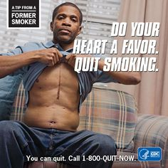 A Tip from a Former Smoker – Do your heart a favor. You can quit… Why Quit Smoking, Reasons To Quit Smoking, Smoking Is Bad, Anti Smoking, Smoking Causes Cancer, Quit Tobacco, Quit Now, Smoking Addiction, Smoking Effects