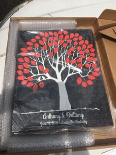 Damask Wedding Tree Canvas | Guest Book Alternative | 75 Signature Spaces | Rustic Wedding | Customer Photo | Wedding Color - Red & Black | peachwik.com
