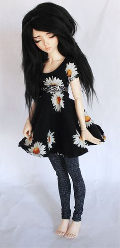 MSD BJD clothes Sunflower legging and skater dress set by MonstroDesigns by MonstroDesigns on Etsy