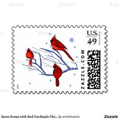 Christmas and New Year's Postage Stamps with Red Cardinals. Matching card, envelopes and other products available in the Christmas & New Year Category of the artofmairin store at zazzle.com