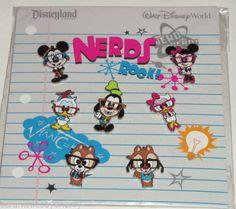 Disney Nerds Rock Mickey Minnie Goofy Donald Daisy 7 Pin Set Theme Parks NIP