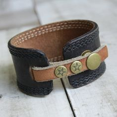 Brown Leather Cuff Bracelet Upcycled Belt by orangeandprairie