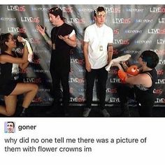 Josh looks so excited to receive fish while wearing a flower crown whereas Tyler. Well he just looks dun