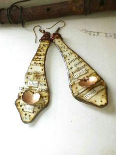 Art Earnings  Paper Jewelry  Rustic Word Earrings  by PaperMemoirs, $35.00