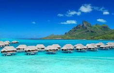 Gorgeous. Bora, Bora in French Polynesia is the ninth best destination to celebrate your wedding anniversary. #vacation #travel