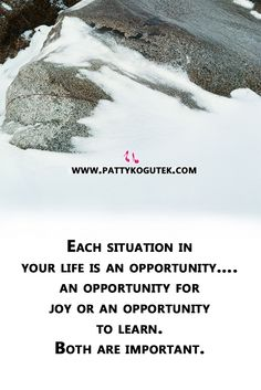 Each situation in your life is an opportunity….an opportunity for joy or an opportunity to learn.  Both are important. http://pattykogutek.com/inspirational-insights/