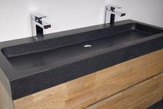 Zwevend badkamermeubel Woodline Black Spirit Modern Master Bathroom, Small Bathroom, Ideas Baños, Concrete Basin, Cosy House, Interior Architecture, Interior Design, New Toilet, Sink