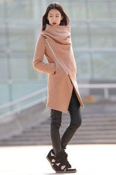 Lange Mäntel - Winterjacken für Frauen braunen Wollmantel-CF042 - ein Designerstück von Lu-yahui bei DaWanda