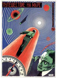 "Great graphics. Soviet era poster for the science fiction film ""Puteshestviye na Mars"" (""The Journey to Mars"")."