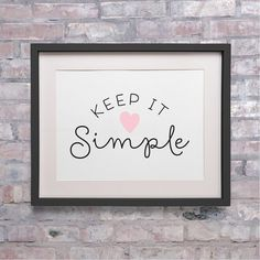 Typography Print Keep it Simple Inspirational by AddisonAndLake, $12.00