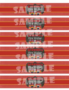 Printable FIRETRUCK WATER Bottle LABELS by ShinySparklyParties